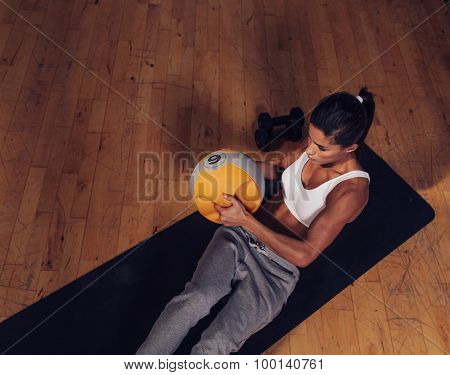 Strong Young Woman Doing Core Workout
