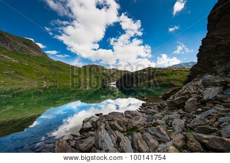 Small High Mountain Lake With Transparent