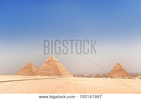 Complex Of Giza Pyramids, The Most Attractive Ruin Place In The World. Unesco World Heritage Site.