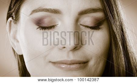 Smiling Woman Face With Closed Eyes, Girl Daydreaming