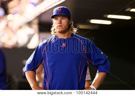 DENVER-AUG 21: New York Mets pitcher Noah Syndergaard in the dugout during a game against the Colorado Rockies at Coors Field on August 21, 2015 in Denver, Colorado.