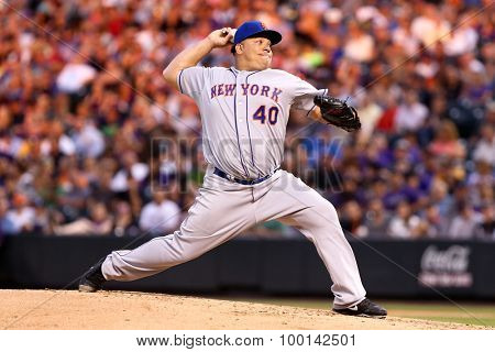 DENVER-AUG 21: New York Mets pitcher Bartolo Colon pitches during a game against the Colorado Rockies at Coors Field on August 21, 2015 in Denver, Colorado.