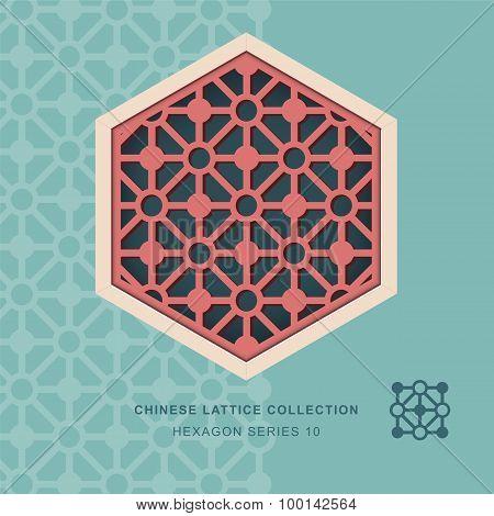 Chinese window tracery lattice hexagon frame 10 diamond circle