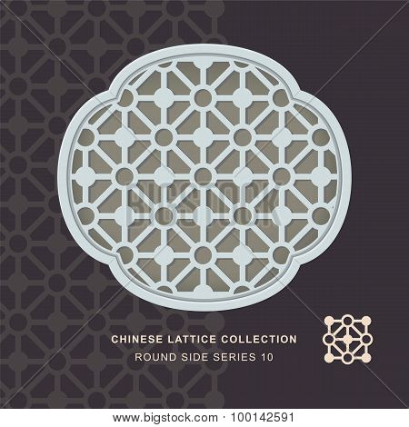 Chinese window tracery lattice round side frame 10 diamond circle