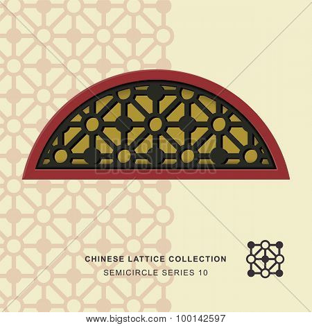 Chinese window tracery lattice semicircle frame 10 diamond circle