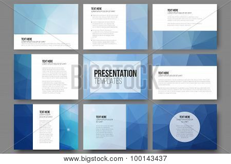 Set of 9 vector templates for presentation slides. Abstract triangle design background.