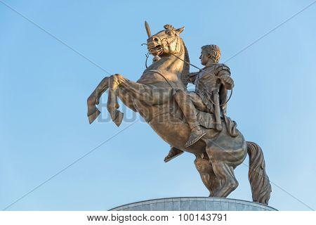 Warrior on horse Alexander the Great in Skopje