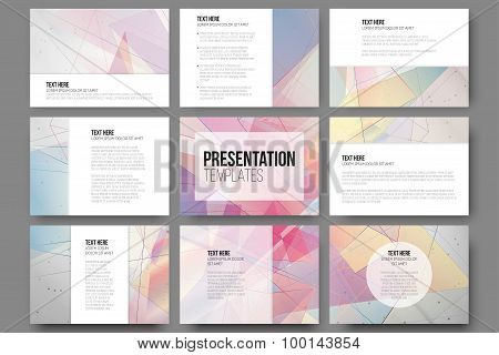 Set of 9 templates for presentation slides. Abstract colored backgrounds, triangle design vectors