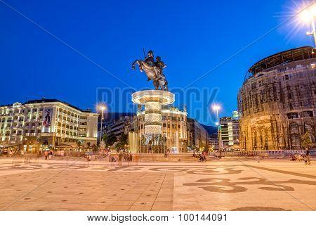 Alexander the Great fountain in Skopje