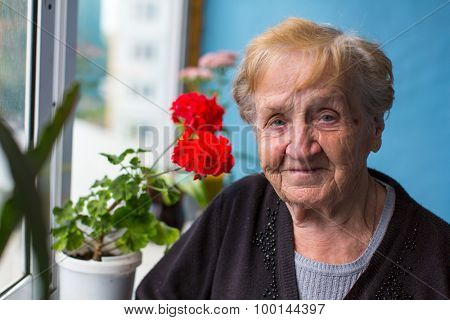 Portrait of elderly woman standing on the balcony among the flowers.