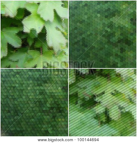 Green leaves texture. Collection of abstract multicolored backgrounds. Natural geometrical patterns.