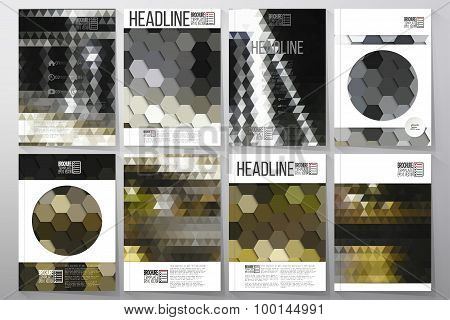 Business templates for brochure, flyer or booklet. Night city landscape. Collection of abstract mult
