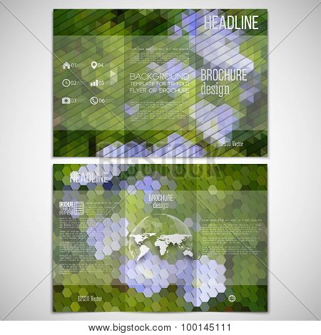 Vector set of tri-fold brochure design template on both sides. Blue flowers in the grass. Abstract m