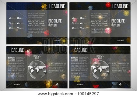 Vector set of tri-fold brochure design template on both sides with world globe element. Night lights