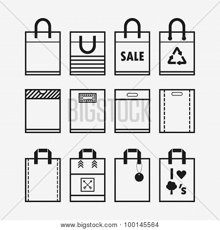 Linear plastic and paper shopping bags icon set on off white background