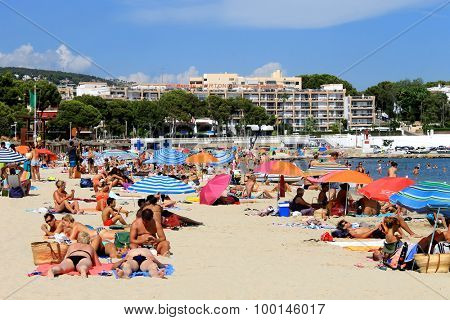 PALMA NOVA BEACH, MAJORCA, SPAIN - 24th August 2015: Palma Nova beach resort on the 24th August 2015. This is a popular and established tourist destination every summer.