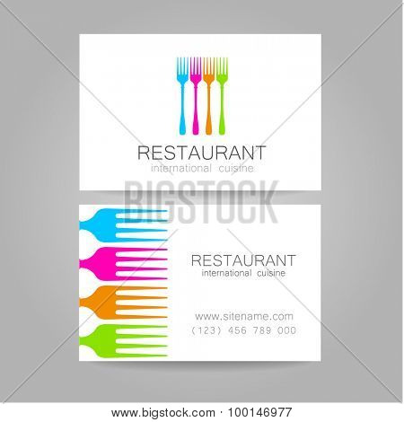Restaurant logo. Template design. The concept of corporate style restaurants serving international cuisine. An example of a business card.