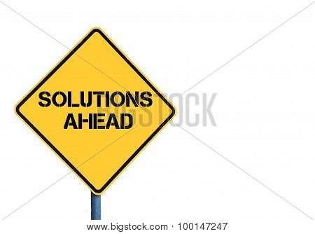 Yellow Roadsign With Solutions Ahead Message