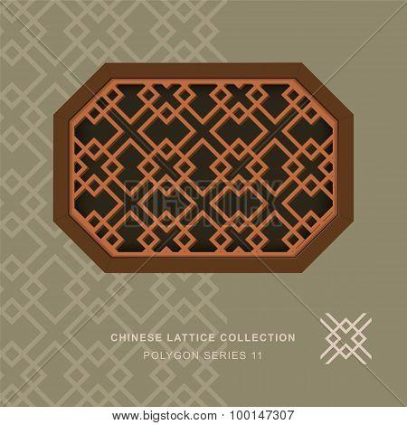 Chinese window tracery lattice polygon frame 11 diamond cross
