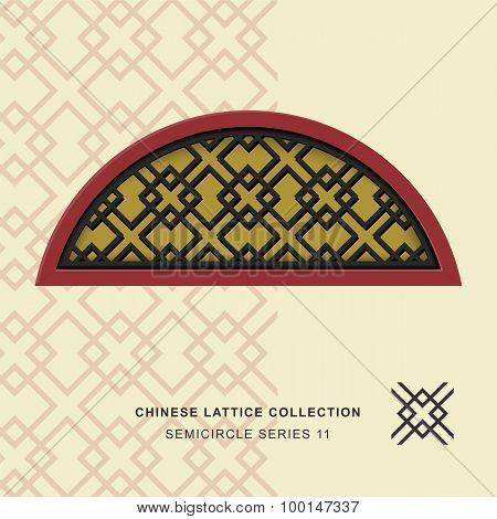 Chinese window tracery lattice semicircle frame 11 diamond cross