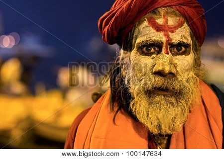 Portrait Of An Indian Sadhu In Varanasi, Uttar Pradesh, India