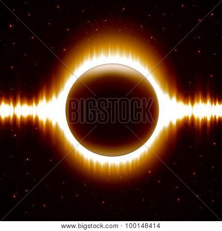 Space Background With Dark Orange Eclipse