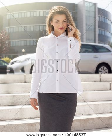 Elegant Young Businesswoman Talking By Phone.