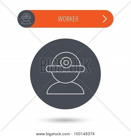Worker icon. Engineering helmet sign.