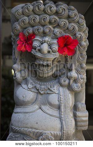 Balinese religious sculpture of demon