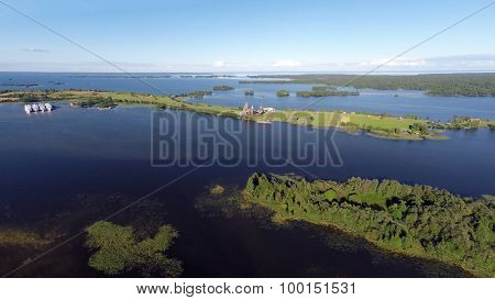 landscape with Onega lake and Kizhi island in Karelia - aerial view