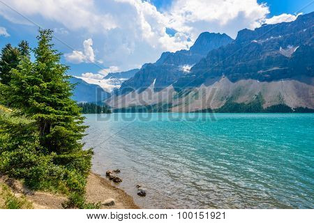 Majestic mountain lake in Canada. Bow Lake view in Jasper, Alberta, Canada. Rocky Mountains.