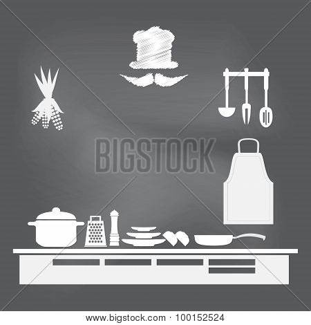 Kitchen Interior Concept, Kitchen Symbol Illustration