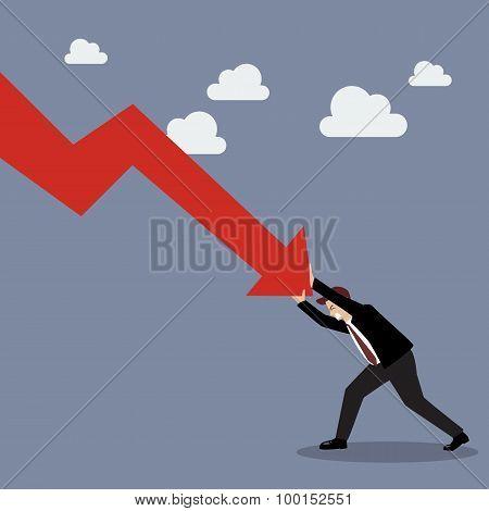 Businessman Pushing Hard Against Falling Graph Down