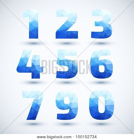 Blue Numbers set modern geometric style.