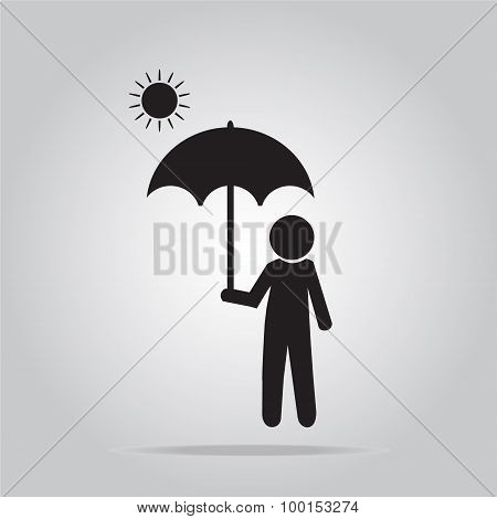 Man With Umbrella On Sunny Day Illustration