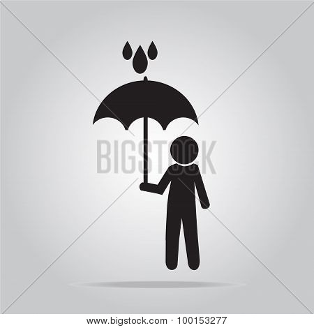 Man Holding Umbrella In The Rain Illustration