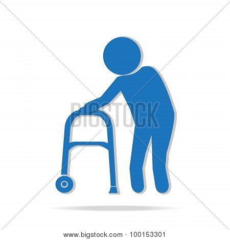 Elderly Man And Walker Symbol Illustration