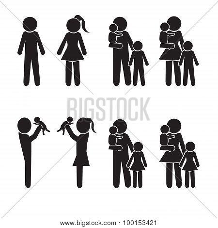 Family Icons Set, Happy Family Illustration