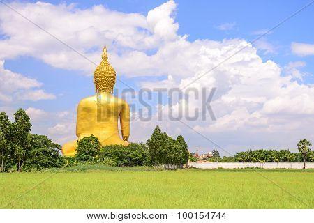 Backside Of Biggest Buddha Statue In Thailand At Wat Muang, Ang Thong Province, Thailand.