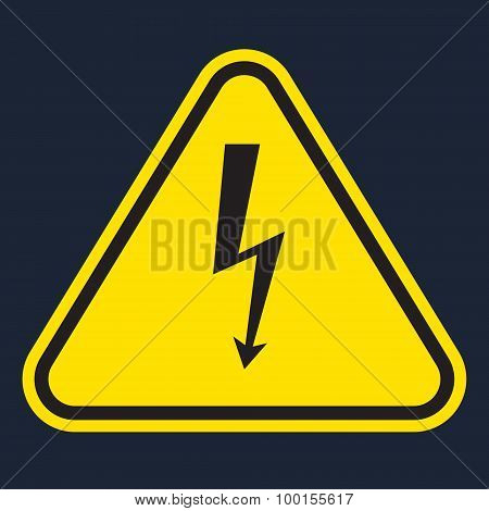 vector yellow danger sign on black background