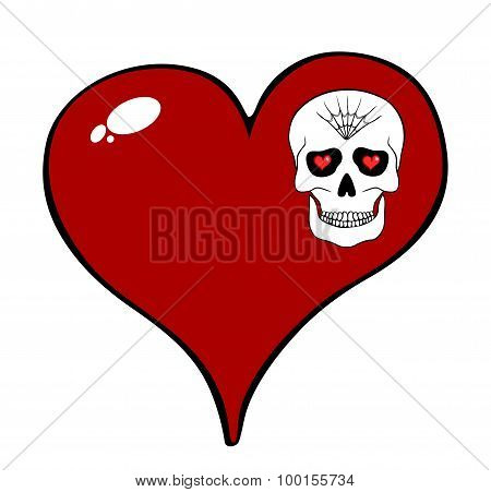 Red Heart And Skull Motif Isolated On White