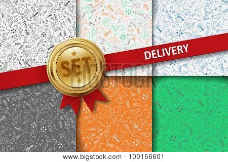 Set of delivery backgrounds with doodle icons in different colors