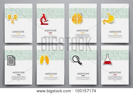 Corporate identity vector templates set with doodles medicine theme