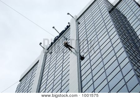 Rappeling Business Skyscrapper