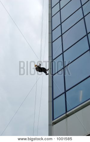 Rappeling Business Skyscraper