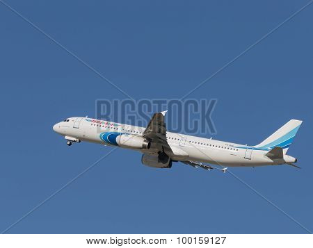 Airbus A321-231 Takes Off Into The Sky