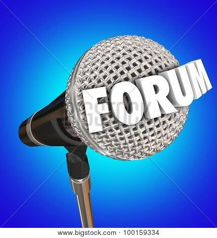 Forum word on a microphone on blue background to illustrate an open meeting or discussion to communicate your feedback, ideas, opinions or comments