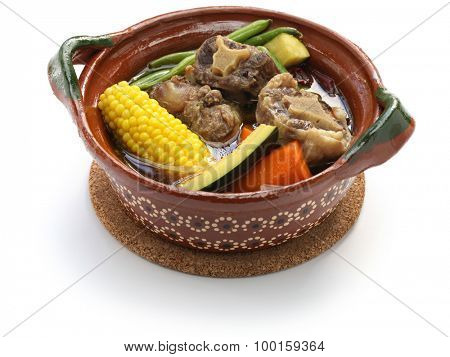 mole de olla, mexican spicy beef and vegetable stew isolated on white background