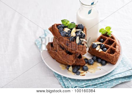 Chocolate waffles with milk