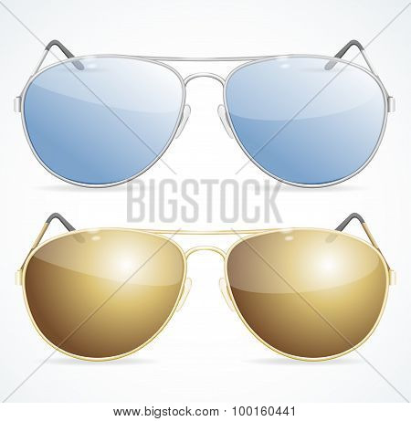 Aviator Sunglasses Set. Vector